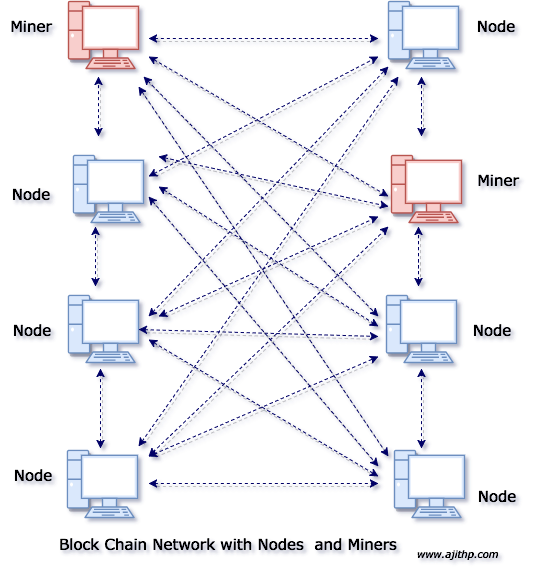 Blockchain Network with Nodes and Miners