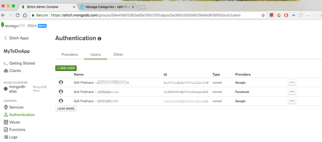 Stitch Admin Console users